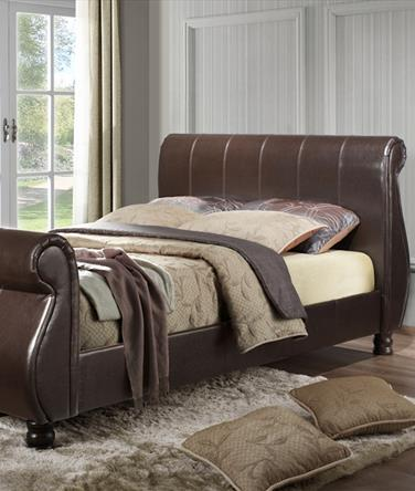 Marseille Brown Faux Leather Sleigh Bed Frame