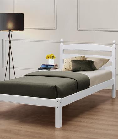 Oslo White Wooden Bed Frame